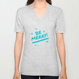 Bright Cyan Be Merry Christmas Snowflakes Unisex V-Neck