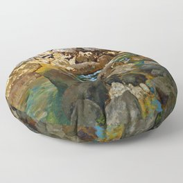 Carl Schuch Mountain Stream with Boulders Floor Pillow