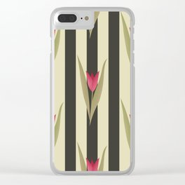 Spring flowers. Tulips are red. Retro. Clear iPhone Case