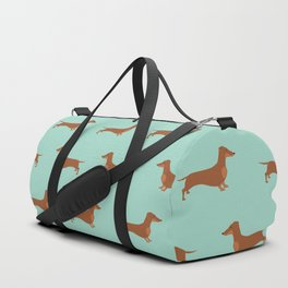 Red Dachshund Chocolate Tan Sausage Dog on Mint Green Background Dog Pattern for Dog Lover Duffle Bag
