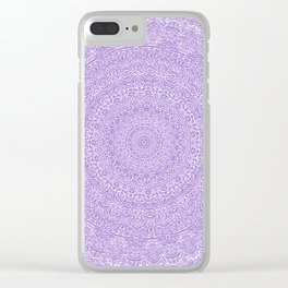 The Most Detailed Intricate Mandala (Violet Purple) Maze Zentangle Hand Drawn Popular Trending Clear iPhone Case