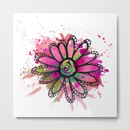 GC031-1 Colorful watercolor doodle flower pink and green Metal Print