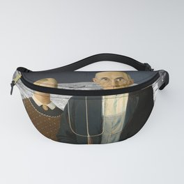 American Gothic Farmers Land on the Moon Fanny Pack