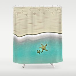 SANDY BEACH & STARFISH Shower Curtain