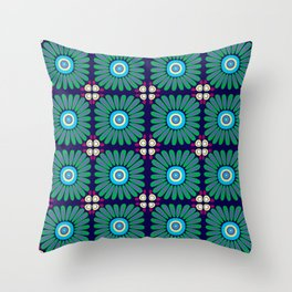 Green and Purple Daises Throw Pillow