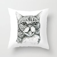 lil bub Throw Pillows featuring Bub by Leanne Engel