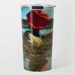 Girl with Red Umbrella Travel Mug