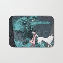 Woman Wolf wandering Bath Mat