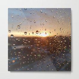 Raindrops sunset Metal Print
