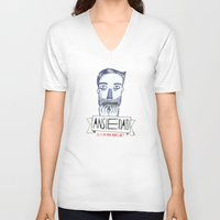 anxiety V-neck T-shirts featuring Ansiedad (Anxiety) by Villaraco