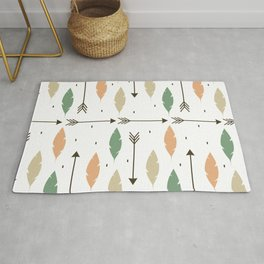 cute colorful feathers and arrows ethnic tribal pattern background Rug