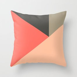 Color Block Triangle in Orange Throw Pillow