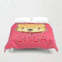 shiba inu Duvet Covers featuring SHIBA INU LOVE by giaj