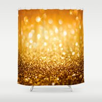 gold glitter Shower Curtains featuring Gold Glitter Texture by Robin Curtiss