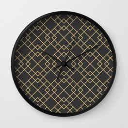Lattice in Charcoal and Gold Wall Clock