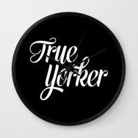 true blood Wall Clocks featuring True Yorker by Audio Visual Algebra