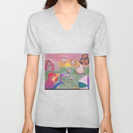 Blowing Bubbles in the Wind Unisex V-Neck