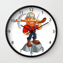 miner funny with pick.Prospector cartoon Wall Clock