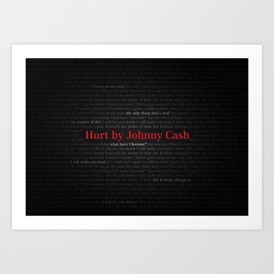 Hurt by Johnny Cash Art Print