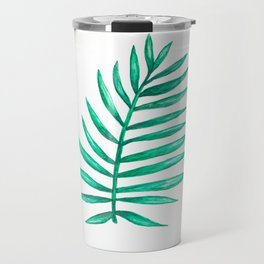 Coconut Palm Leaf Watercolor Travel Mug