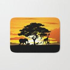 Wild Animals on African Savanna Sunset  Bath Mat