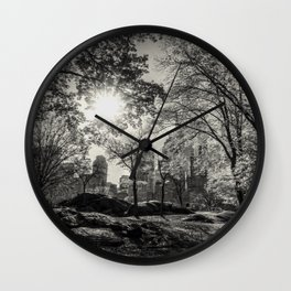 A lovely afternoon in Central Park, N.Y.C. - b/w Wall Clock