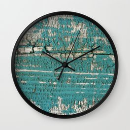Rustic Wood Turquiose Paint Weathered Wall Clock