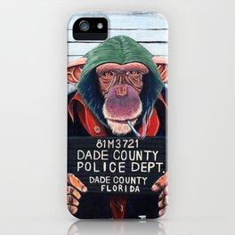 Monkey mugshot iPhone Case