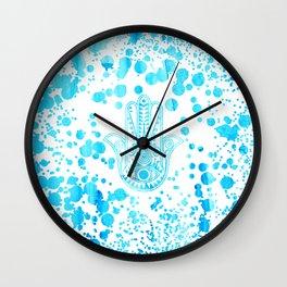 Aqua blue watercolor confetti hamsa hand of Fatima Wall Clock