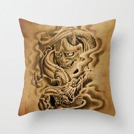 Hannya Dragon Throw Pillow