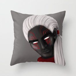 Dark Wizard Character With Red Eye Tattoos Throw Pillow