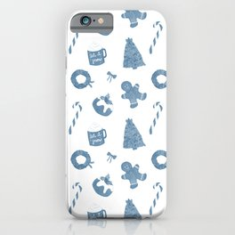 Blue Christmas Holiday Pattern iPhone Case