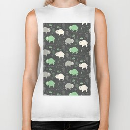 Seamless pattern with cute baby buffaloes and native American symbols, dark gray Biker Tank