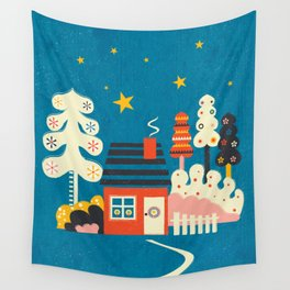 Festive Winter Hut Wall Tapestry