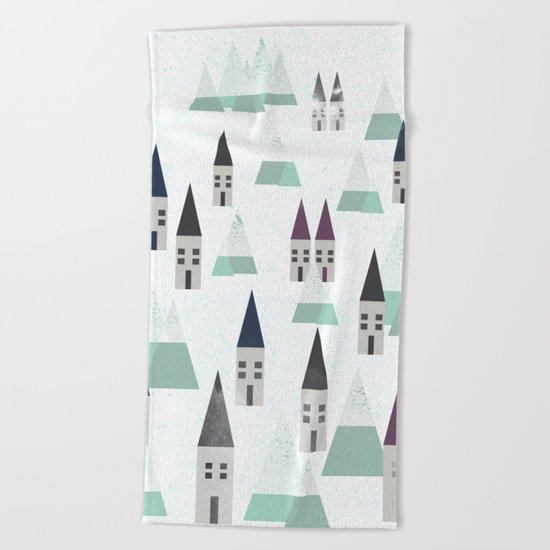 Village on winter Beach Towel