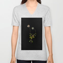 Cineraria Amelloides Mary Delany Delicate Paper Flower Collage Black Background Floral Botanical Unisex V-Neck