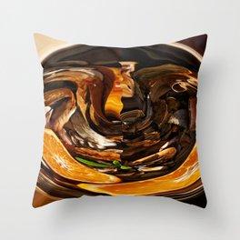 Orange Going Into Worm Hole Throw Pillow