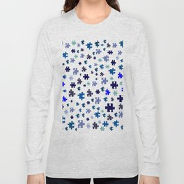 Jigsaw pieces of bluish colors. Long Sleeve T-shirt
