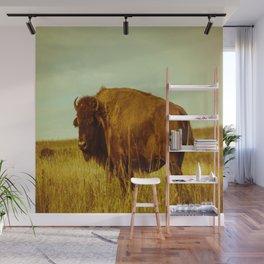 Vintage Bison - Buffalo on the Oklahoma Prairie Wall Mural
