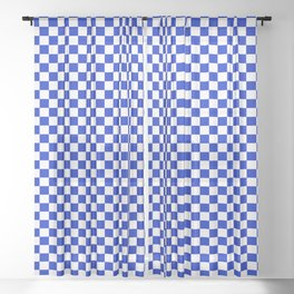Small Cobalt Blue and White Checkerboard Pattern Sheer Curtain