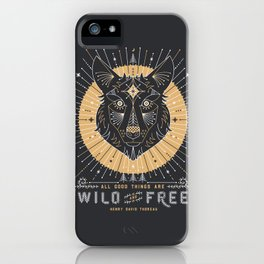 Wild & Free Wolf – Gold & Grey iPhone Case