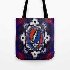 Grateful Dead 'Steal Your Face' Psychedelic Skull Optical Illusion Tote Bag