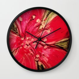 Red Hibiscus Detail Wall Clock