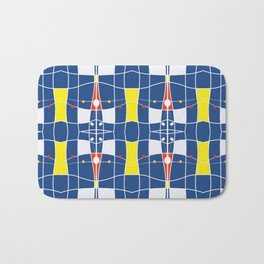 Nautical blue tiled modern plaids Bath Mat