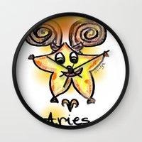 aries Wall Clocks featuring Aries by sladja