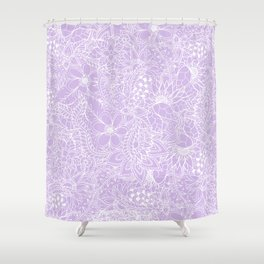 Modern trendy white floral lace hand drawn pattern on pastel lavender Shower Curtain
