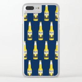 Corona Beer Bottle, Pop-Art Pattern, Blue Clear iPhone Case