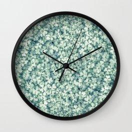 Clover shamrock leaf art, green leaves pattern Wall Clock