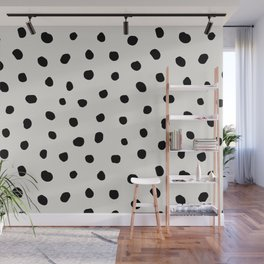 Modern Polka Dots Black on Light Gray Wall Mural