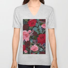 Triangles With Vintage Red Pink Roses and Chocolate Cosmos Flower Pattern Unisex V-Neck